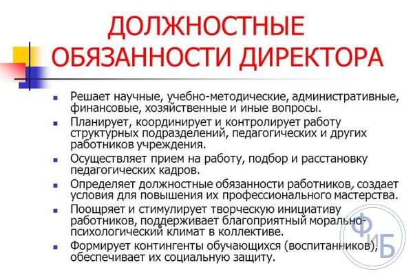 должностная инструкция директора предприятия